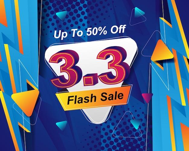 Modello di sfondo del banner di vendita flash per l'evento di vendita 3.3