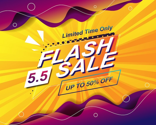 Modello di sfondo banner vendita flash per evento di vendita 5.5