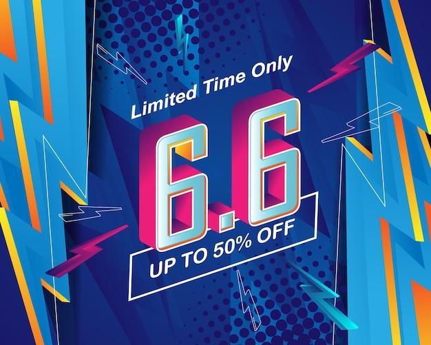 Modello di sfondo del banner di vendita flash per l'evento di vendita 6.6