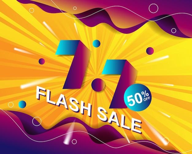 Modello di sfondo del banner di vendita flash per l'evento di vendita 7.7