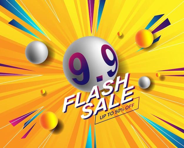 Modello di sfondo banner vendita flash per evento di vendita 9.9