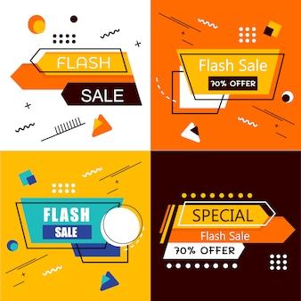 Flash sale banner set elements pacchetto vector premium