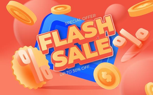 Progettazione del modello dell'insegna di vendita flash. illustrazione di vettore.