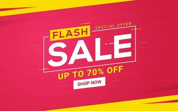 Flash vendita banner modello sconto promozione grafica vettoriale