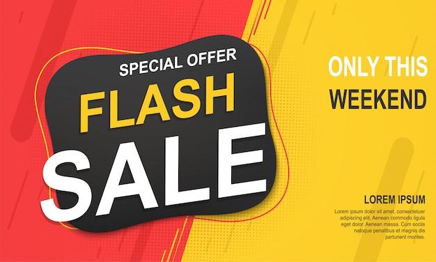 Modello di banner di vendita flash, offerta speciale per grandi vendite.