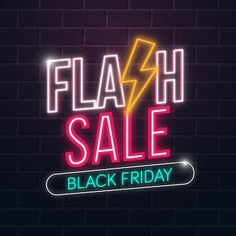 Vendita flash sul concetto di venerdì nero con effetto luci al neon