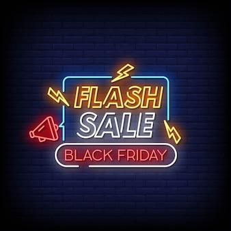 Testo di stile delle insegne al neon di black friday di vendita flash.