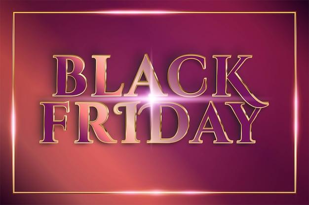 Flash sale black friday con concetto di colore oro rame metallo tema effetto