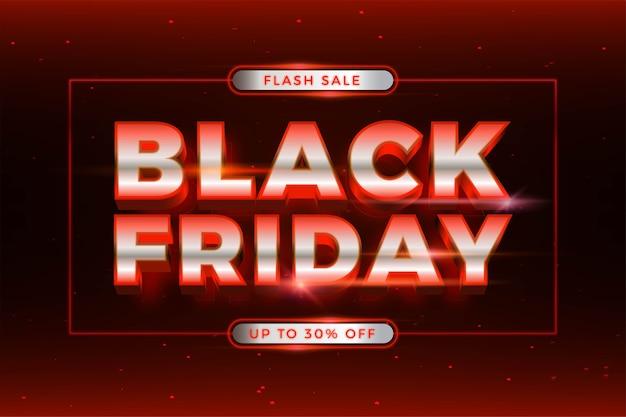 Vendita flash black friday con tema effetto argento e neon rosso realistico concetto di luce