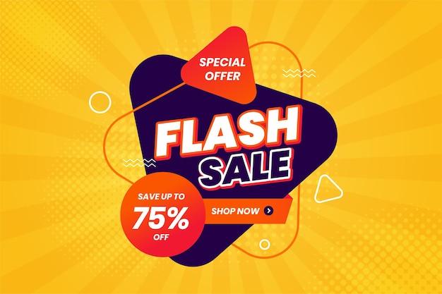 Promozione banner sconto vendita flash Vettore Premium