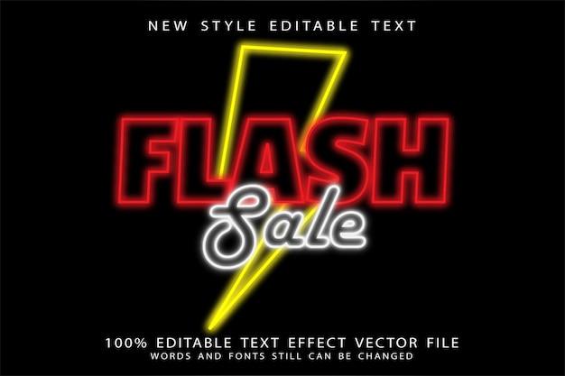 Effetto di testo modificabile in vendita flash in rilievo in stile neon