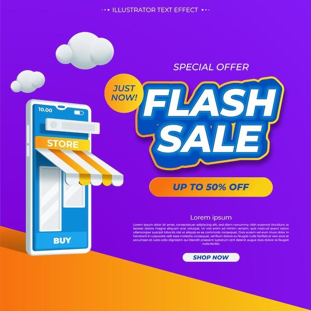 Modello promozionale di banner moderno di vendita flash