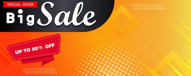 La vendita flash ha aperto un design banner giallo e arancione o una grande vendita. sconto, affare, modello web di promozione dello shopping. banner e sfondo di marketing vettoriale