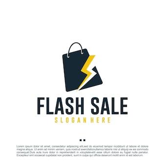 Vendita flash, shopping, ispirazione per il design del logo