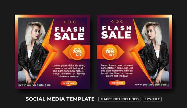 Modello di post sui social media di vendita flash