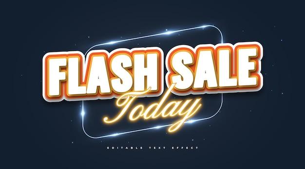 Testo di vendita flash in stile cartone animato ed effetto neon. effetto stile testo modificabile