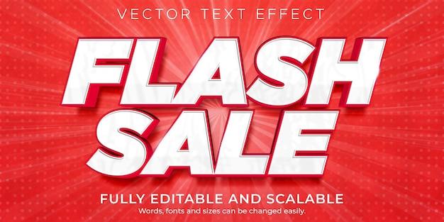 Effetto di testo in vendita flash, sconto modificabile e stile di testo dell'offerta