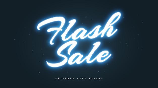 Testo di vendita flash in effetto neon blu incandescente. effetto stile testo modificabile