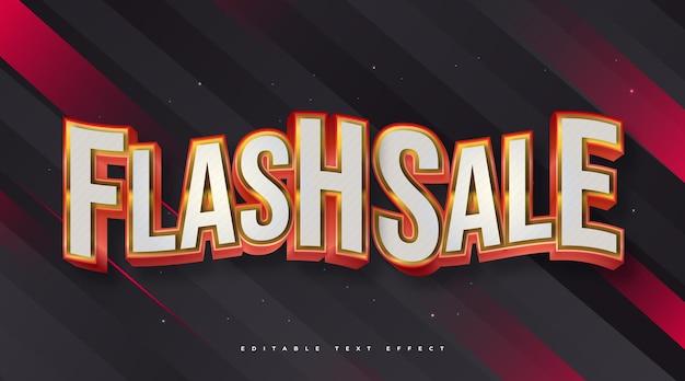Testo di vendita flash in bianco e rosso con effetto 3d e ondulato. effetto stile testo modificabile