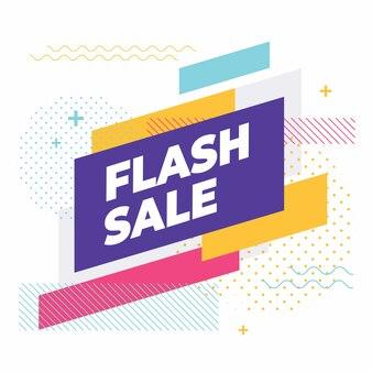 Vendita flash con banner di forme geometriche colorate.