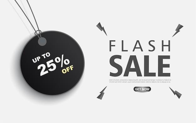 Vendita flash con etichette di prezzo su sfondo bianco tamplate