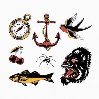 Flash tattoo design illustrazione