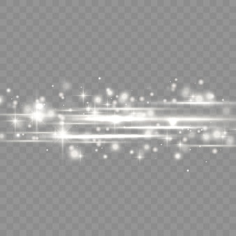 Confezione di bagliori di lenti orizzontali bianche flash, raggi laser, raggi di luce orizzontali, bagliori di luce belli, bagliore linea bianca, bagliore oro brillante, illustrazione vettoriale
