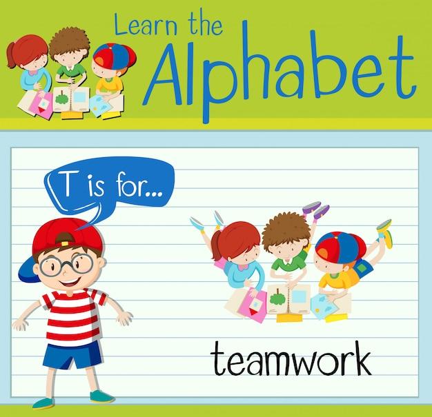 L'alfabeto flashcard t è per il lavoro di squadra