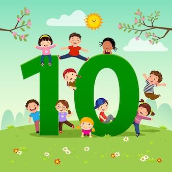 Flashcard per la scuola materna e l'apprendimento prescolare per contare il numero 10 con un numero di bambini.