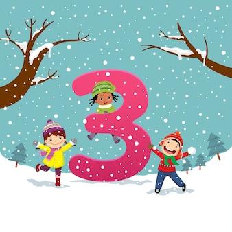 Flashcard per la scuola materna e l'apprendimento prescolare per contare il numero 3 con un numero di bambini.