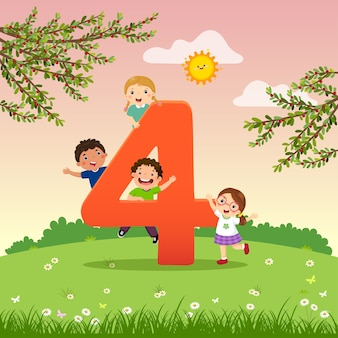 Flashcard per la scuola materna e l'apprendimento prescolare per contare il numero 4 con un numero di bambini.