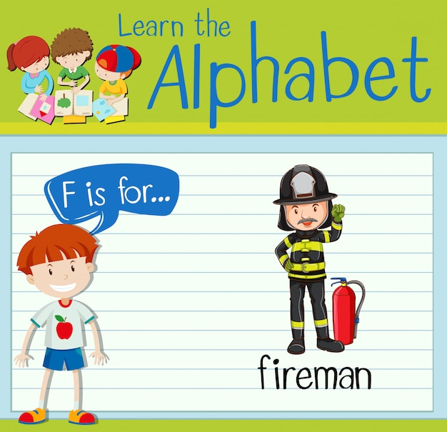 La lettera f di flashcard è per pompiere