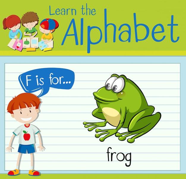La lettera f di flashcard è per la rana