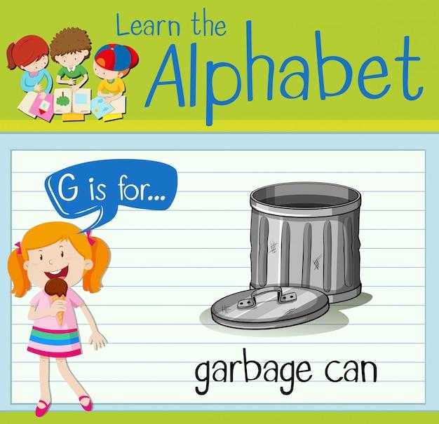 Flashcard lettera g è per bidone della spazzatura