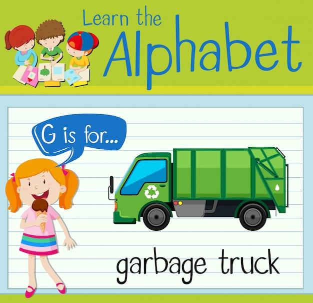 Flashcard lettera g è per camion della spazzatura