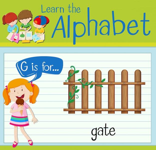 La lettera di flashcard g è per il cancello