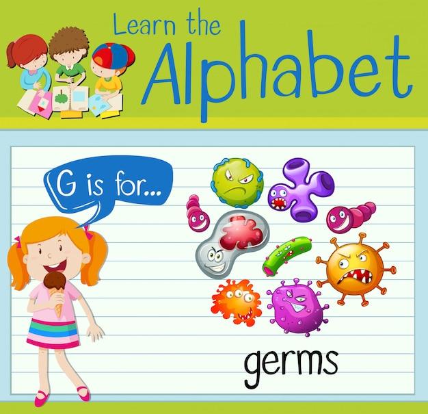 La lettera g di flashcard è per i germi