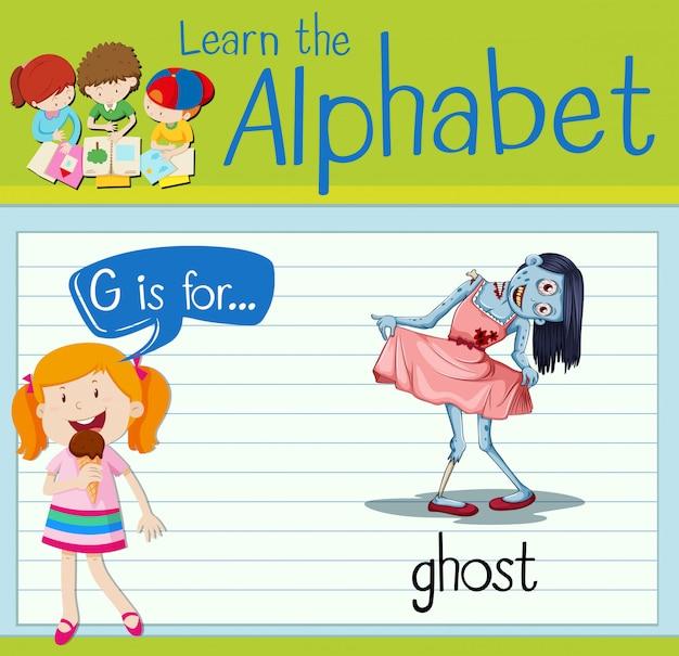 La lettera flashcard g è per il fantasma