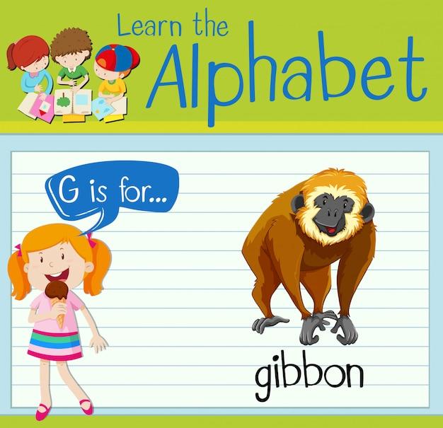 La lettera flashcard g è per gibbone