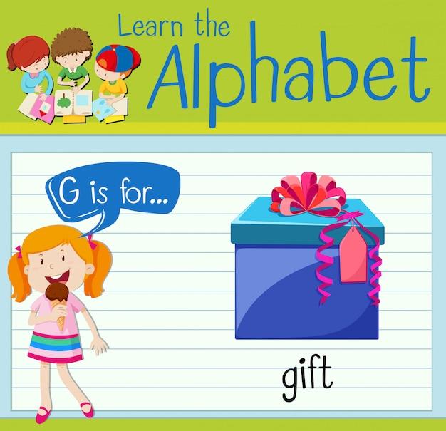 La lettera g di flashcard è per regalo