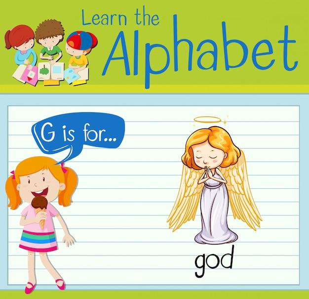 La lettera di flashcard g è per dio