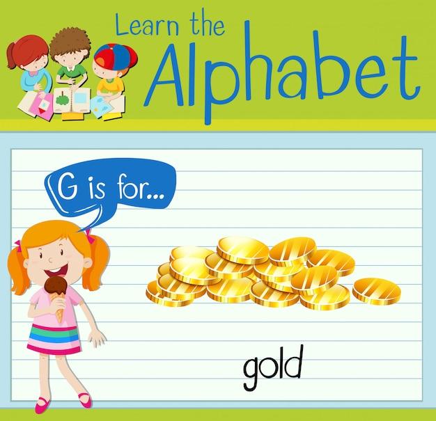 La lettera flashcard g è per l'oro