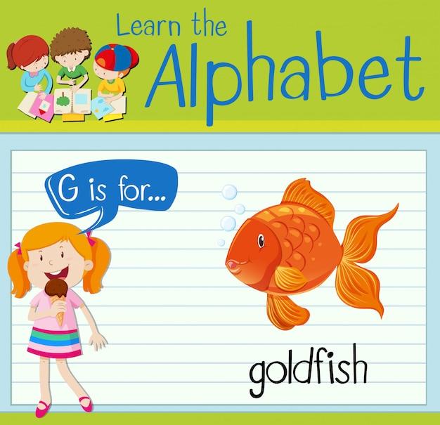La lettera flashcard g è per il pesce rosso