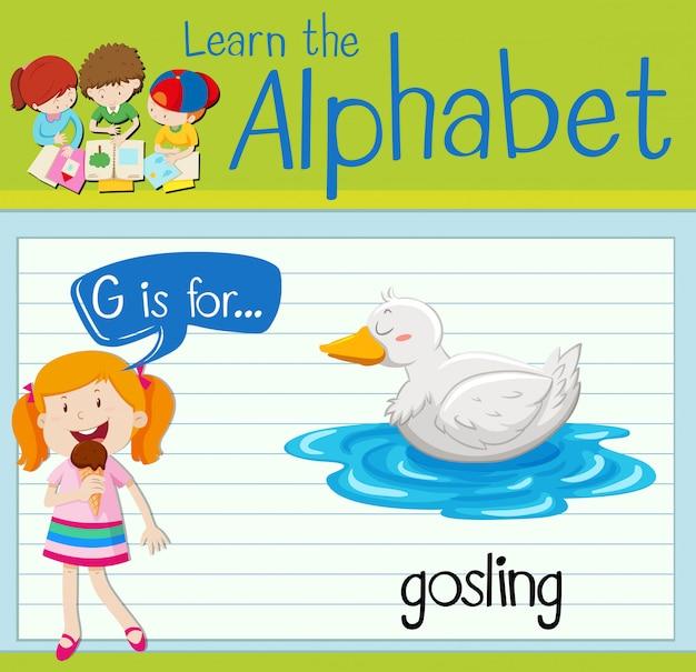 La lettera flashcard g è per gosling