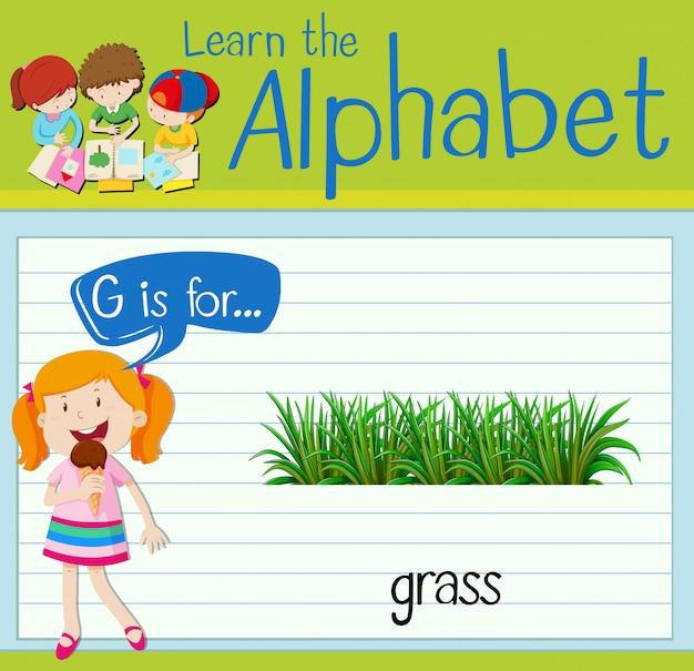 La lettera g di flashcard è per l'erba