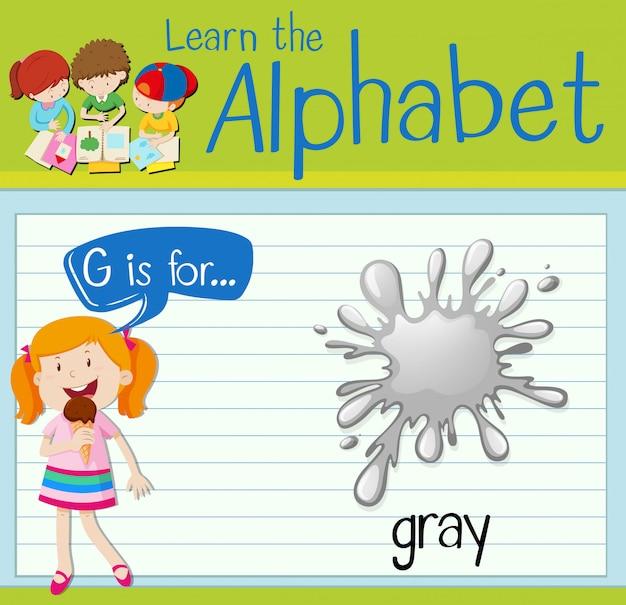 La lettera flashcard g è per il grigio