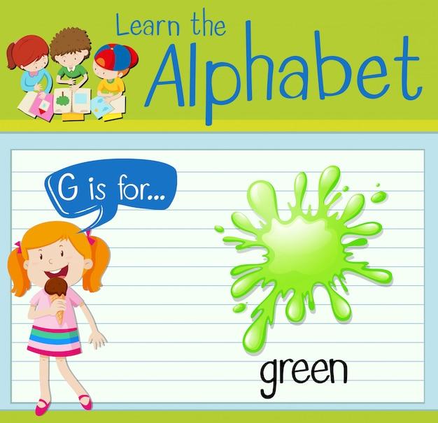 La lettera flashcard g è per il verde