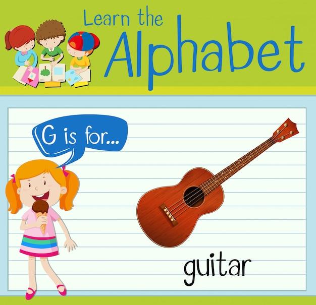 La lettera flashcard g è per chitarra