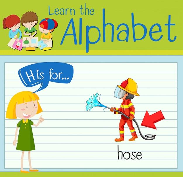 La lettera flashcard h è per tubo