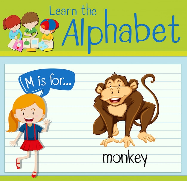 La lettera flashcard m è per la scimmia